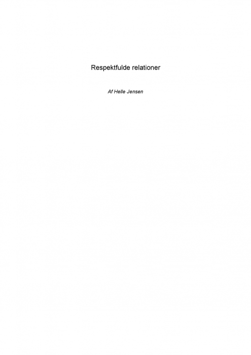 Respektfulde relationer (e-bog) fra helle jensen fra bogreolen.dk