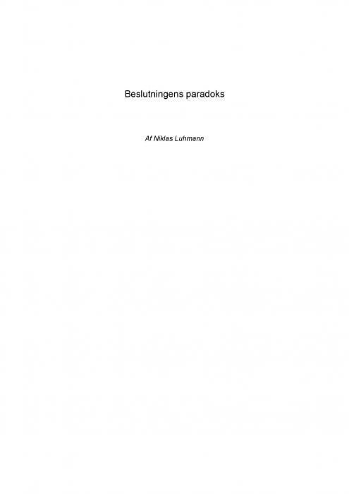 niklas luhmann – Beslutningens paradoks (e-bog) på bogreolen.dk