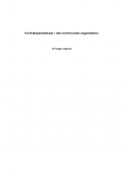 holger højlund Kontraktparadokser i den kommunale organisation (e-bog) på bogreolen.dk