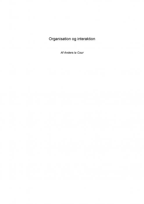 Image of Organisation og interaktion (E-bog)