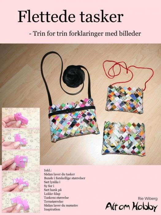 Flettede tasker - trin for trin forklaringer med billeder (e-bog) fra rie wiberg fra tales.dk