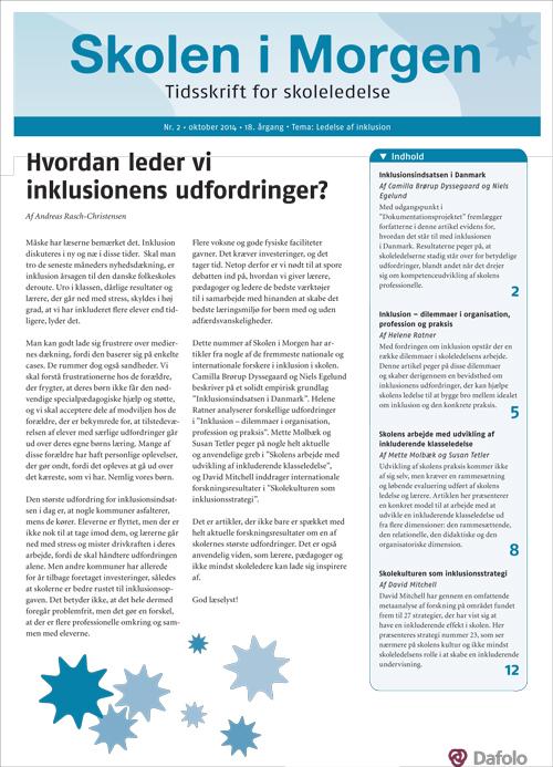 Skolen i Morgen. Nr. 2. 2014. 18. årgang. Tema: Ledelse af inklusion (E-bog)