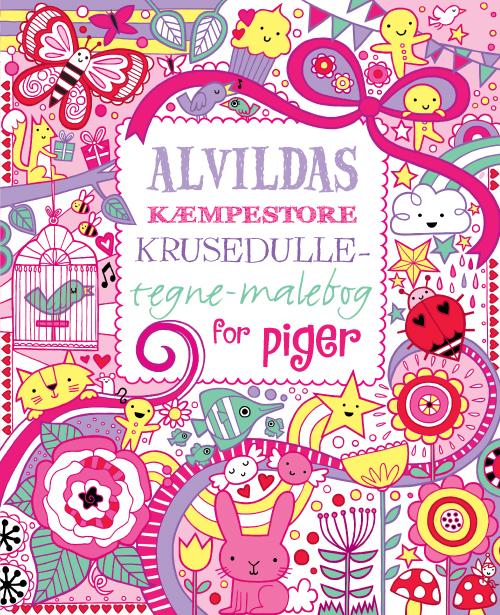 Image of   Alvildas kæmpestore krusedulle-tegne-malebog for piger (Bog)