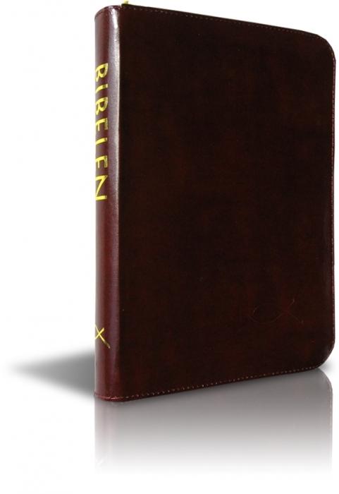 Image of   Bibelen på hverdagsdansk, brun m/ lynlås (Bog)