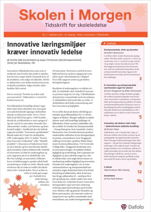 Skolen i Morgen. Nr. 2. Oktober 2012. 16. årgang. Tema: Innovation i folkeskolen (E-bog)