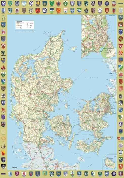 Image of   Danmarkskort med byvåben (Bog)