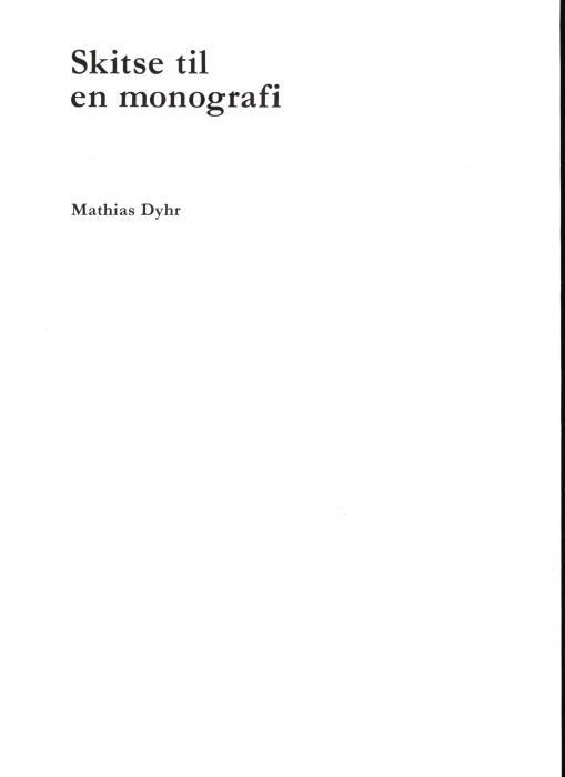 Skitse til en monografi (Bog)