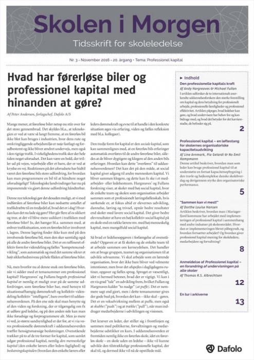 Image of Skolen i Morgen. Nr. 3. November 2016. 20. årgang. Tema: Professionel kapital (E-bog)